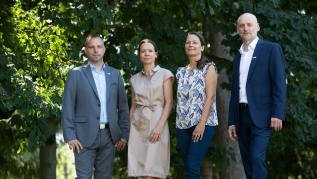 Die neuen Abteilungschefs der Diakonie-Spitäler: Jürgen Ster (Pflegedienst), Michaela Leopold (Ärzte), Eveline Oberleitner (Psychologie) und Arnold Maier (Verwaltung). (Bild: Diakonie/Maurer)