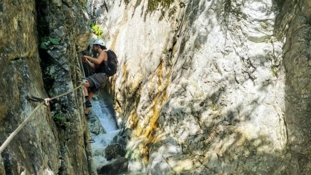 Der Klettersteig durch die Röbischlucht in Gargellen. (Bild: Rubina Bergauer)