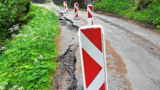 Die Trefflinger Landesstraße ist aktuell aufgrund von Bauarbeiten gesperrt. (Bild: Elisa Aschbacher)