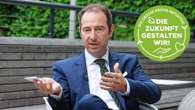 Mario Pulker, Sprachrohr der Wirte in der Wirtschaftskammer, tritt vehement gegen die verpflichtende Kennzeichnung für Lebensmittel ein. (Bild: Krone KREATIV, zwefo)