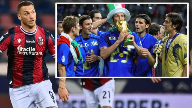 Marko Arnautovic (links) traf in der italienischen Serie A in den ersten sieben Liga-Spielen dreimal für den FC Bologna. Marco Materazzi (im Bild rechts mit Pokal) jubelte 2006 mit Italien und mit Hut über den Gewinn des WM-Titels - bei Inter war Arnautovic 2009/10 sein Teamkollege. (Bild: AP, Gerhard Gradwohl)