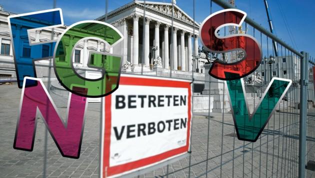 Das Parlament in Wien ist weiterhin eine Baustelle - auch innenpolitisch wird Österreich gerade umgebaut. (Bild: Krone KREATIV)