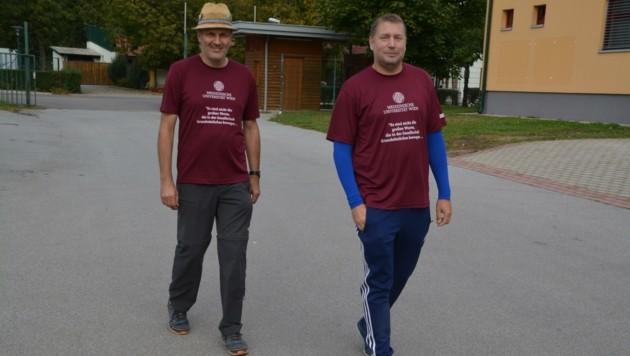 Walter Zwinger (li.) und Werner Achs (re.) absolvierten jeweils 20,08 Kilometer. (Bild: Charlotte Titz)