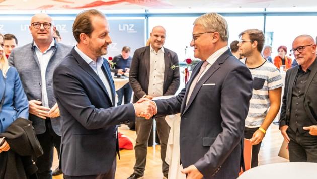 Zwischen VP-Stadtvize Bernhard Baier und Stadtchef Klaus Luger ist derzeit nicht alles eitel Wonne. (Bild: APA/FOTOKERSCHI.AT/ANTONIO BAYER)