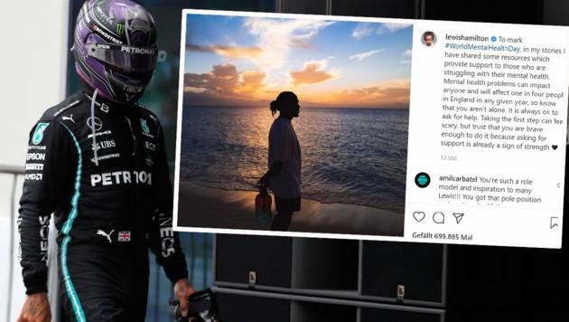 Lewis Hamilton: Kommentar zum Rennen gab's auf Instagram keinen, dafür tiefgehende Zeilen über mentale Gesundheit. (Bild: AP, Instagram.com/lewishamilton)