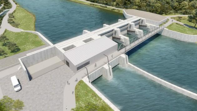 Das geplante Murkraftwerk in Gratkorn (Bild: Verbund)