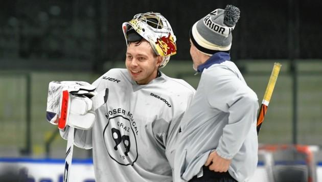 Schweden-Goalie Niklas Lundström trainierte gestern erstmals in Graz mit den 99ers und ist bereit für das Freitag-Heimspiel gegen Salzburg. (Bild: Foto Ricardo; Richard Heintz 8010 A-Graz)