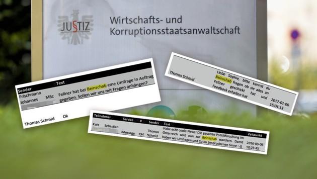 Längst nicht alle Textnachrichten sind von den Ermittlern ausgewertet worden. (Bild: APA/Herbert Neubauer; zVg, Krone KREATIV)