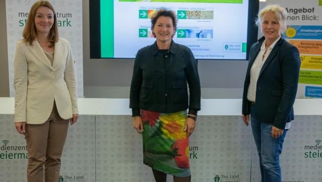 Julia Karimi-Auer, LR Ursula Lackner und Andrea Gössinger-Wieser (v. l.) präsentierten die Zahlen zur Heizungstausch-Aktion. (Bild: Land Steiermark/Purgstaller)