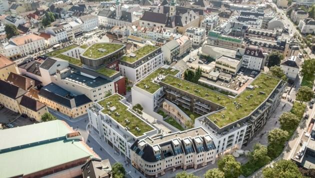 So sollen die Rossmarkthöfe auf dem 9000 Quadratmeter großen Areal ab 2025 aussehen. (Bild: ZOOM visual project gmbh)