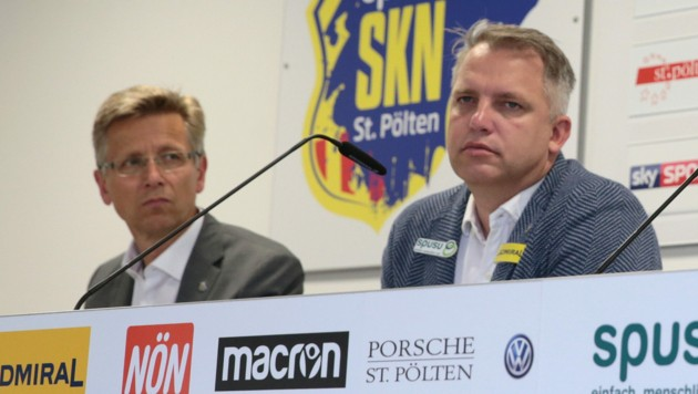 Andreas Blumauer (re.) und Klub-Präsident Helmut Schwarzl (li.) (Bild: GEPA)