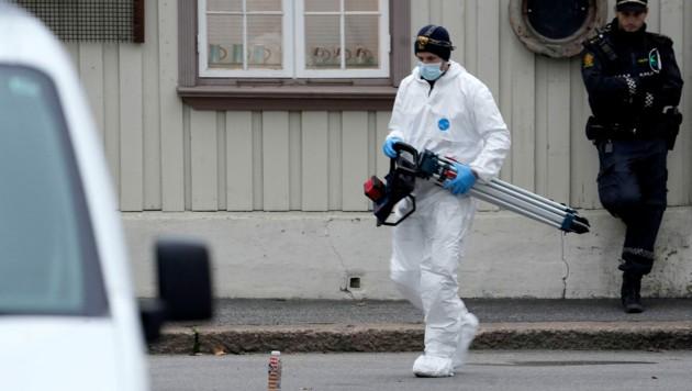 Die Attacke fand an mehreren Orten im Zentrum von Kongsberg statt. (Bild: APA/AFP/NTB/Terje Bendiksby)