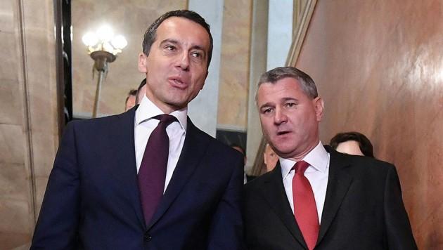 SPÖ-Kanzler Christian Kern und Bundesgeschäftsführer Georg Niedermühlbichler (Bild: APA/HELMUT FOHRINGER)