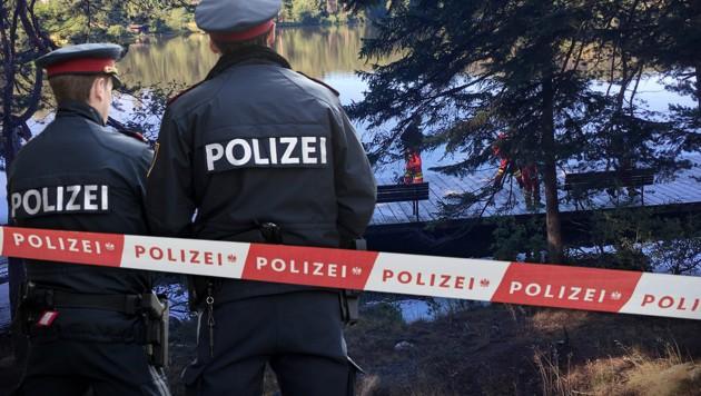Am Edlesberger Teich wurde eine groß angelegte Suchaktion nach der Vermissten gestartet. (Bild: FF Martinsberg, APA, fotokerschi.at, krone.at-Grafik)