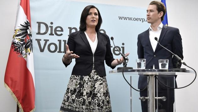 Elisabeth Köstinger und ÖVP-Chef Sebastian Kurz