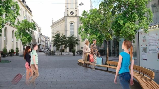 Der Martin-Luther-Platz etwa könnte begrünt und so mit Hessenpark sowie Citypark verbunden werden. (Bild: unbekannt)