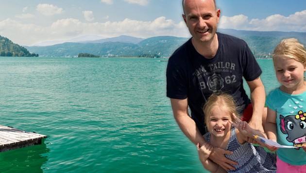 Randolf Hammerl mit seinen Töchtern Kathi (4) und Marie (7) (Bild: Hammerl, Kärnten Werbung)