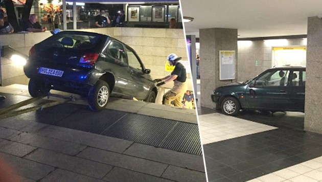 Ein Autofahrer steuerte auf der Flucht vor der Polizei eine U-Bahn-Stiege hinunter. (Bild: twitter.com)