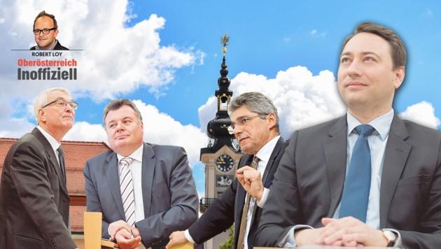Haimbuchner weiß, dass Steinkellner am Sprung ist. Podgorschekâ005 ist angezählt, Mahr unverzichtbar. (Bild: Harald Dostal (2), Werner Kerschbaummayr, FPÖ)