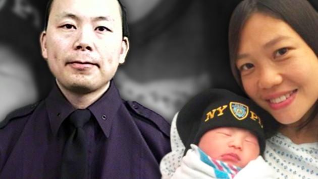 Wenjian Liu kann sich nicht mehr mit Ehefrau Sanny über Töchterchen Angelina freuen. (Bild: AP, twitter.com, krone.at-Grafik)