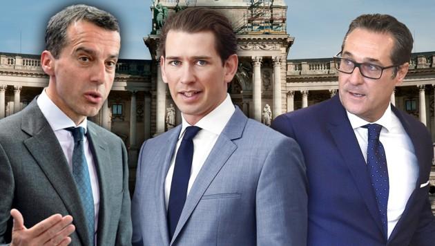 Ex-SPÖ-Chef Kern, Bundeskanzler Sebastian Kurz, Vizekanzler Heinz-Christian Strache (Bild: APA, krone.at-Grafik)