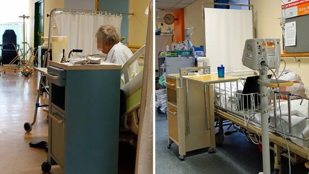 Gangbetten in einem Wiener Spital