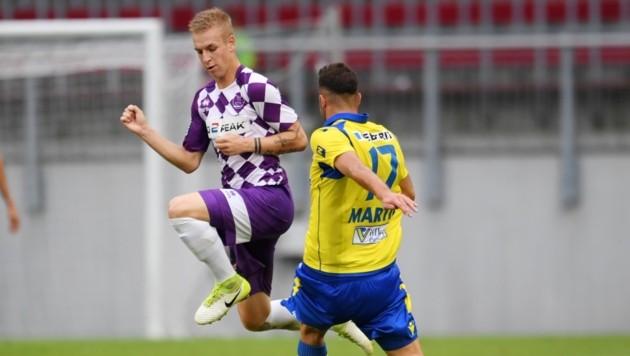 Austria Klagenfurt-Talent Florian Jaritz war von St. Pölten im Cup nicht zu stoppen. (Bild: F. Pessentheiner)