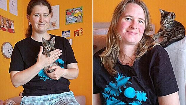 """Michelle M. (links) und ihre Lebensgefährtin mit Katze """"Luna"""" (Bild: zVG)"""