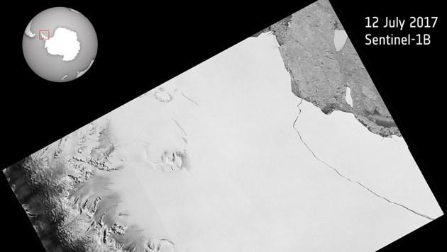 Eine Satelliten-Aufnahme zeigt den abgebrochenen Eisberg A68 am 12. Juli 2017.