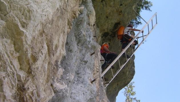 Der 250 Meter lange Klettersteig in der Echernwand gilt als mittelschwer. (Bild: Bergrettung)