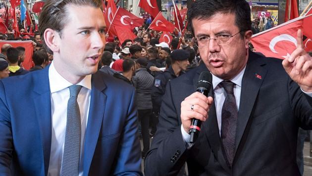 Kurz lehnt einen öffentlichen Auftritt von Wirtschaftsminister Zeybekci in Österreich ab. (Bild: APA/JAKOB GLASER, AFP, APA/HERBERT P. OCZERET)