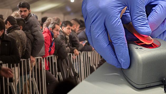 Registrierung von Migranten (Bild: APA/HARALD SCHNEIDER, APA/dpa/Michael Kappeler)