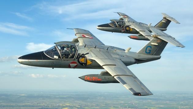 """Mit """"Call 121.5"""" werden noch bis 2021 abgefangene Piloten aufgefordert, über eine Frequenz mit den Saab 105 Kontakt aufzunehmen. (Bild: BMLVS/Markus Zinner)"""