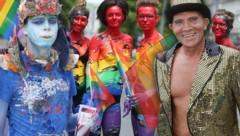 Höchst farbenfroh präsentieren sich die Teilnehmer der Regenbogenparade 2017 in Wien. (Bild: Peter Tomschi)