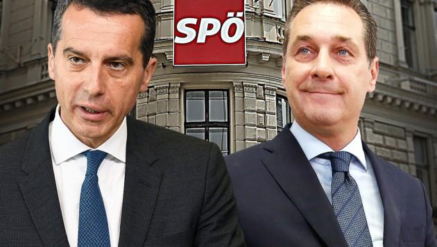 SPÖ-Chef Christian Kern, FPÖ-Chef Heinz-Christian Strache (Bild: Peter Tomschi, AFP)