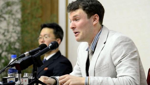 Warmbier bei einer Pressekonferenz nach seiner Festnahme in Nordkorea (Bild: APA/AFP/KCNA/KCNA VIA KNS)