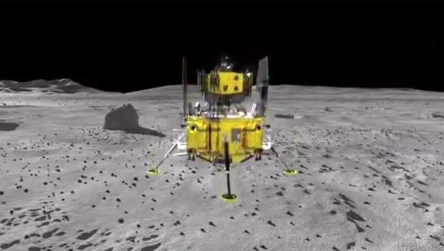 """Künstlerische Illustration: """"Chang'e-5"""" kurz vor dem Aufsetzen auf dem Mond"""