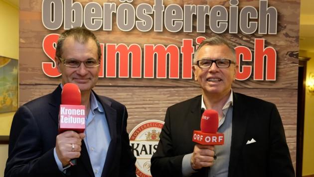 Harald Kalcher (links) und Reinhard Waldenberger laden zum Stammtisch. (Bild: Kronen Zeitung/ Chris Koller)