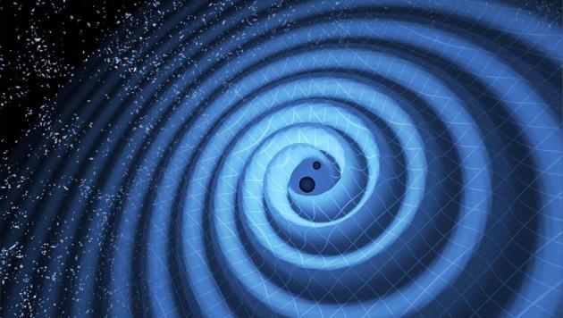 Illustration: Zwei Schwarze Löcher erzeugen Gravitationswellen (Bild: LIGO)