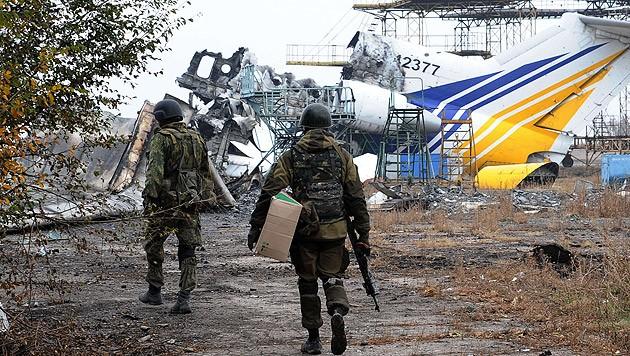 Der verwüstete Flughafen in der ukrainischen Stadt Donezk während der Kampfhandlungen im Jahr 2014