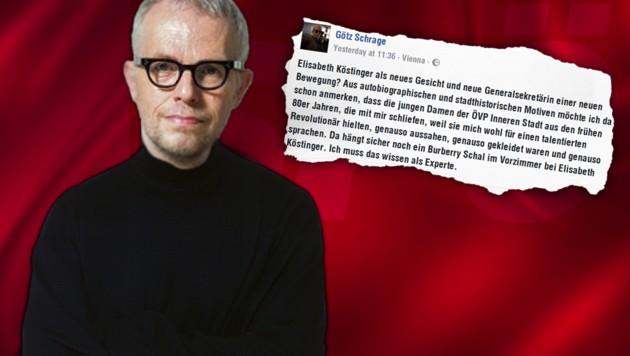 Mit diesem Facebook-Posting sorgte Götz Schrage für einen Sexismus-Skandal. (Bild: SPÖ, Facebook.com, thinkstockphotos.de)