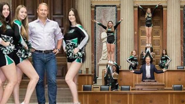 Andreas Schieder von der SPÖ posierte mit den Cheerleaderinnen. (Bild: twitter.com)