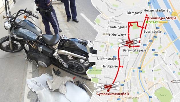 """Über mehrere Kilometer ging die Verfolgungsjagd von der Grinzinger bis zur Gymnasiumstraße. (Bild: LPD Wien, """"Krone""""-Grafik)"""