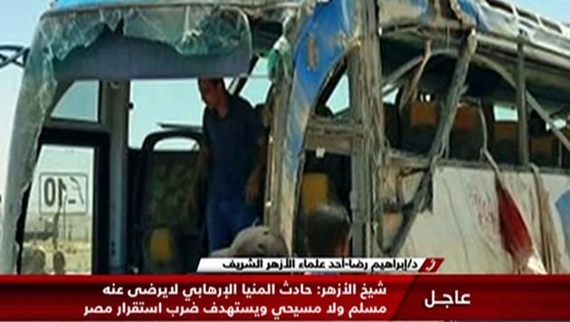 Ein Bild des zerstörten Busses vom Anschlag im Jahr 2017 (Bild: TV Grab / Nile News / AFP)