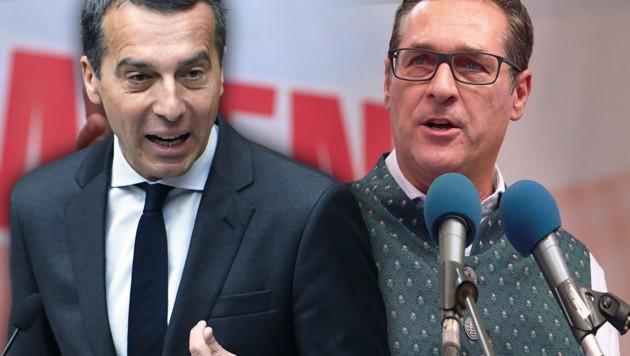 SPÖ-Chef Christian Kern, FPÖ-Vizekanzler Heinz-Christian Strache (Bild: APA/ROBERT JAEGER, APA/HANNES DRAXLER)