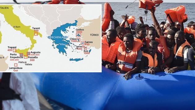 """Italien und Griechenland sind jene Länder, in denen die meisten Flüchtlinge ankommen. (Bild: AFP, """"Krone""""-Grafik)"""