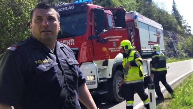 Polizist Mario Spreitzhofer rettete dem Paar das Leben (Bild: BFVMZ / FF Neuberg)