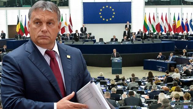 Ungarns Premier Viktor Orban liegt wieder einmal im Clinch mit der EU. (Bild: AP, EPA, krone.at-Grafik)