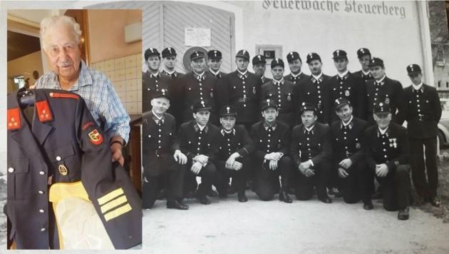 """Hinteregger (vorne 2. v. r. ) mit ehemaligen Kameraden und mit seiner """"Blauen"""" (Bild li.) (Bild: Christian Spitzer)"""