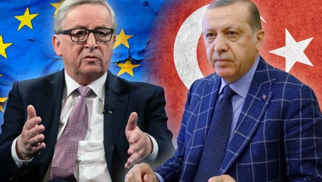 EU-Kommissionschef Juncker (li.), Türkei-Machthaber Erdogan
